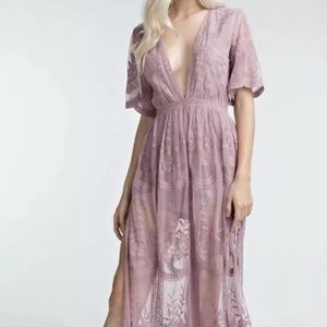 HONEY PUNCH Lace Overlay Maxi Dress Romper M